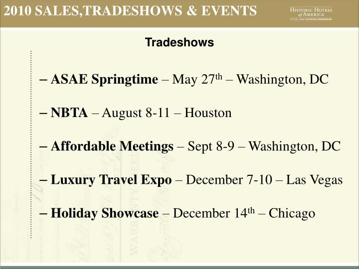 2010 SALES,TRADESHOWS & EVENTS