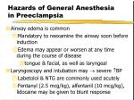hazards of general anesthesia in preeclampsia