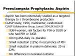 preeclampsia prophylaxis aspirin