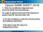 opener same sheet 10 18