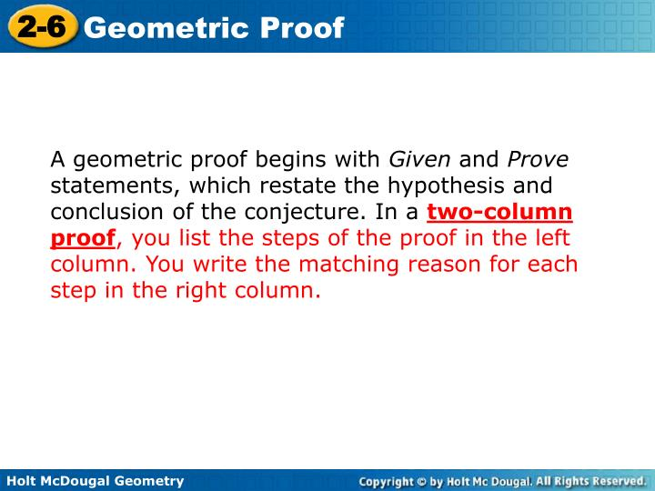 A geometric proof begins with
