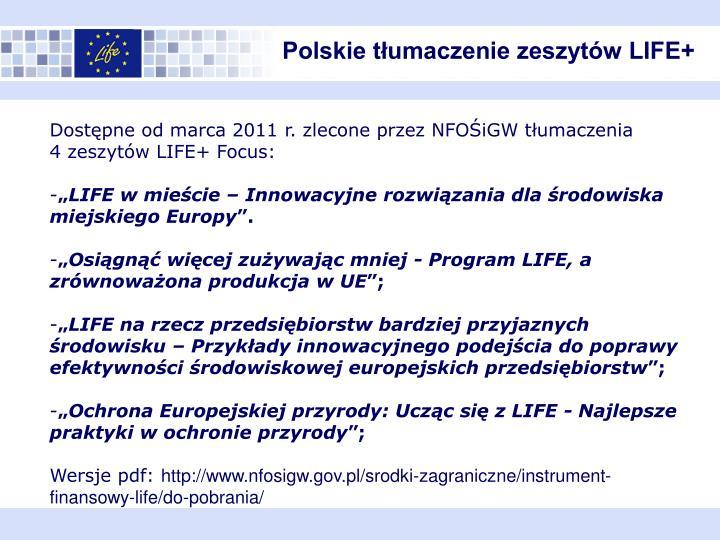 Polskie tłumaczenie zeszytów LIFE+