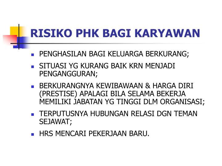 RISIKO PHK BAGI KARYAWAN