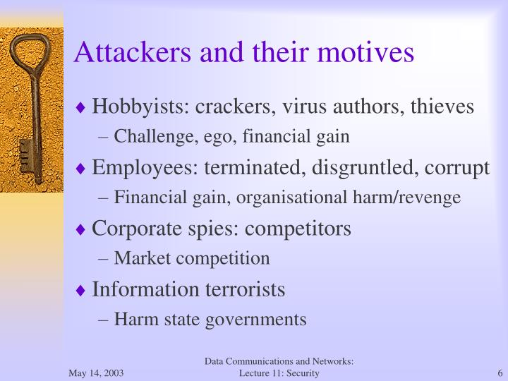 Attackers and their motives