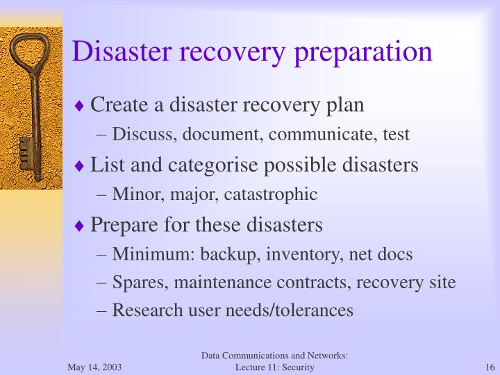 Disaster recovery preparation