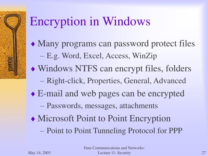 Encryption in Windows