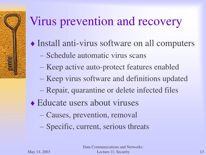 Virus prevention and recovery