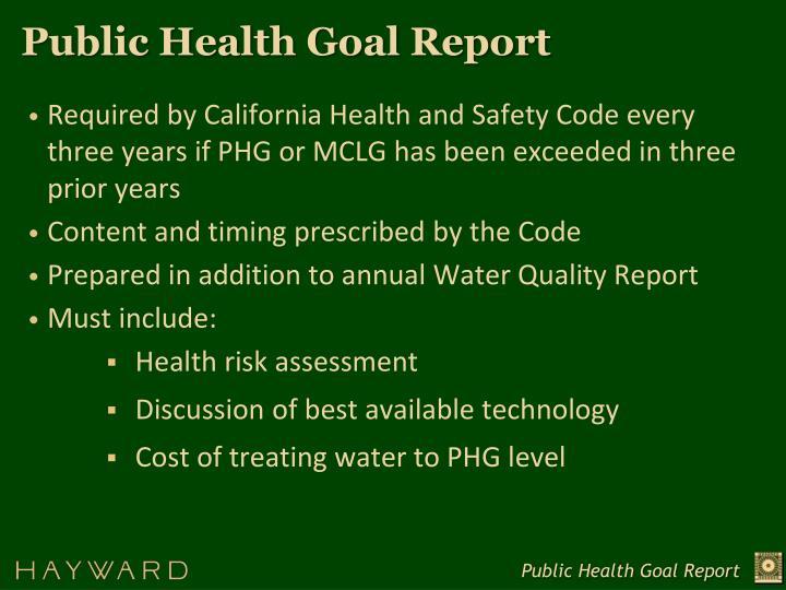 Public Health Goal Report