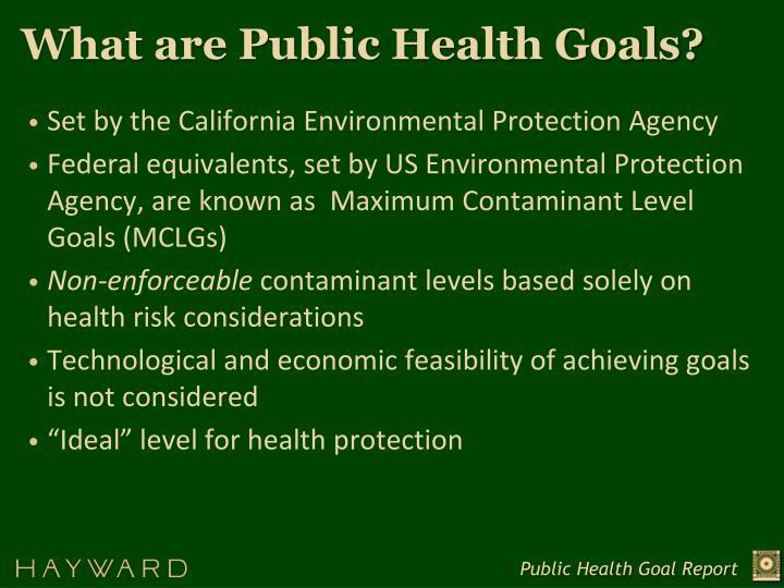 What are Public Health Goals?