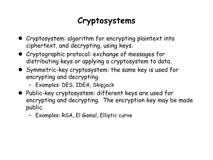 Cryptosystems