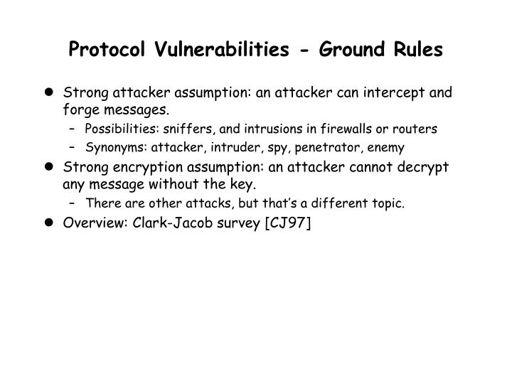 Protocol Vulnerabilities - Ground Rules