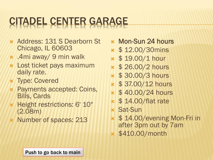 citadel center garage