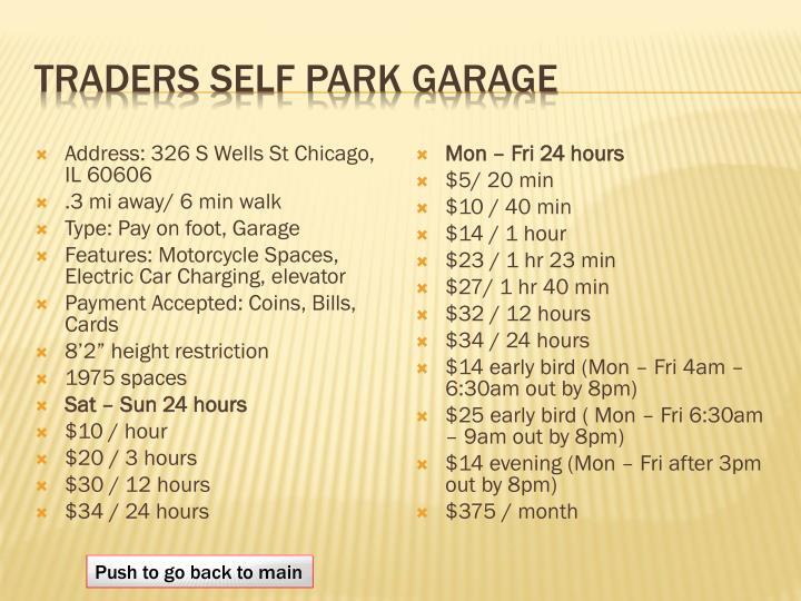 Traders self park garage