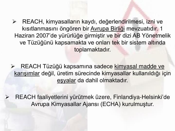 REACH, kimyasalların kaydı, değerlendirilmesi, izni ve kısıtlanmasını öngörenbir