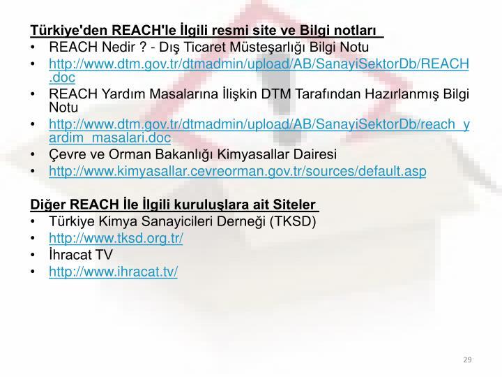 Türkiye'den REACH'le İlgili resmi site ve Bilgi notları