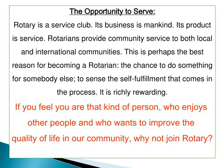 The Opportunity to Serve: