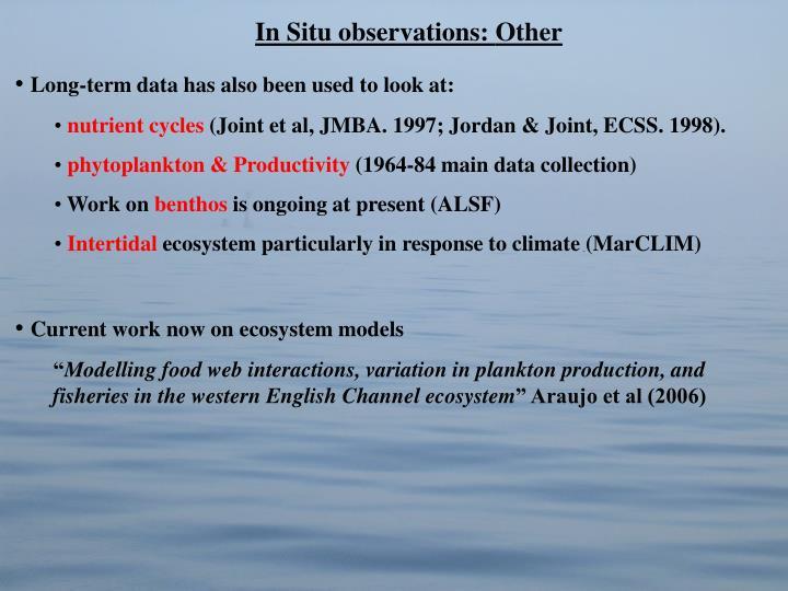 In Situ observations: