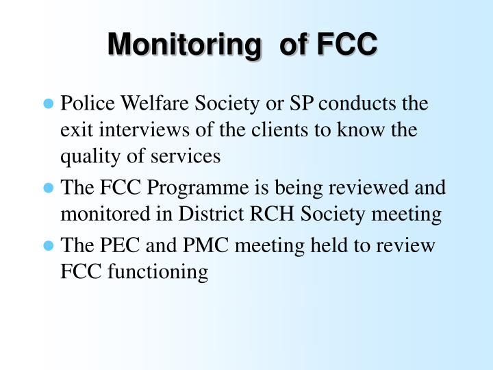 Monitoring  of FCC
