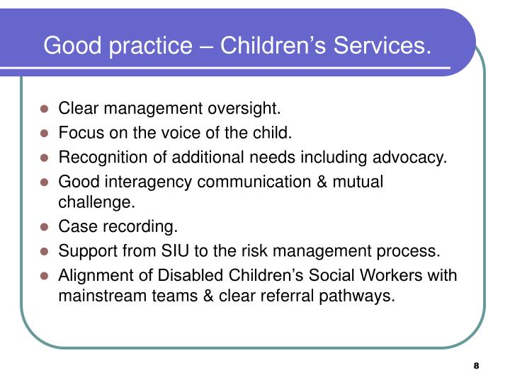 Good practice – Children's Services.