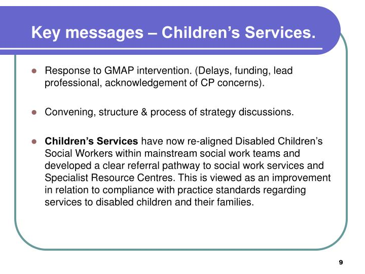 Key messages – Children's Services.