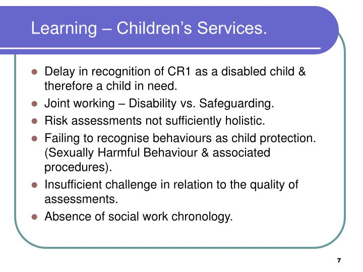 Learning – Children's Services.