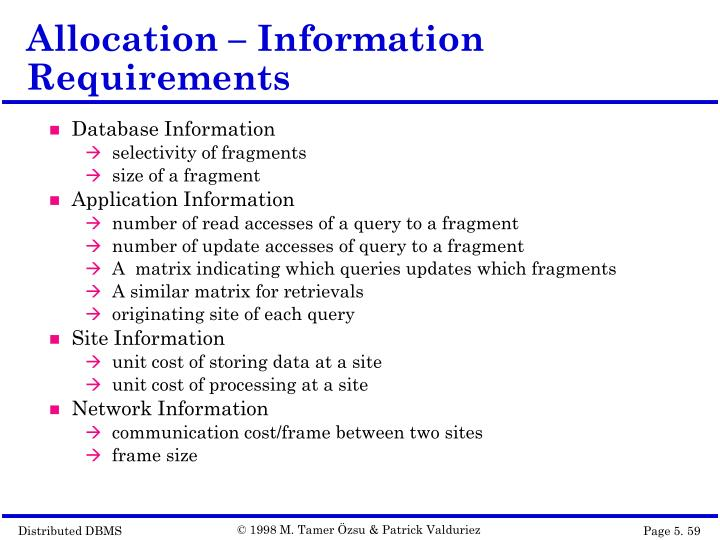 Allocation – Information Requirements