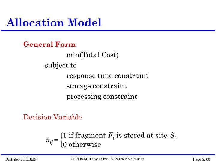 Allocation Model