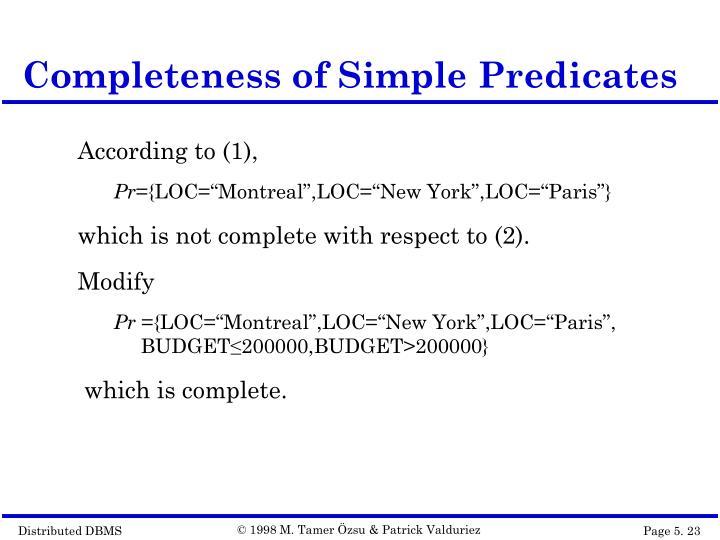 Completeness of Simple Predicates