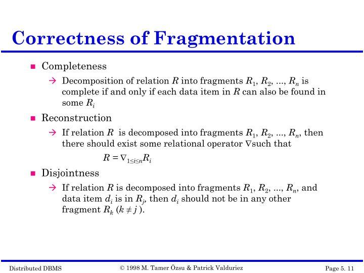 Correctness of Fragmentation