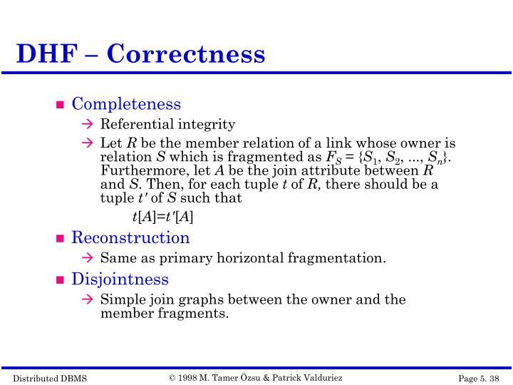 DHF – Correctness