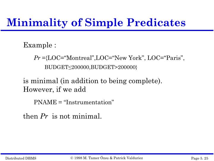Minimality of Simple Predicates