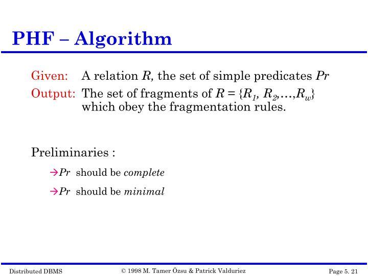 PHF – Algorithm