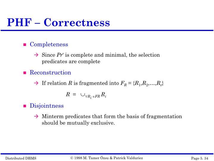 PHF – Correctness