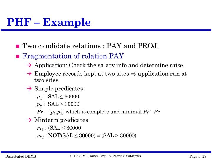 PHF – Example
