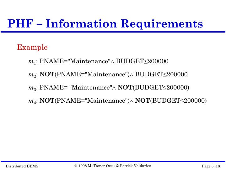 PHF – Information Requirements