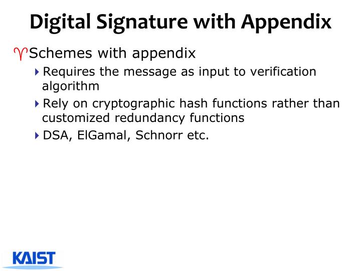 Digital Signature with Appendix