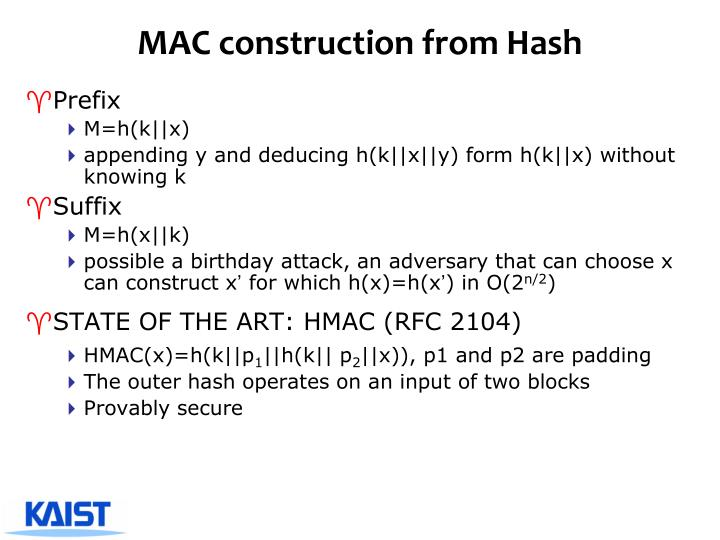 MAC construction from Hash