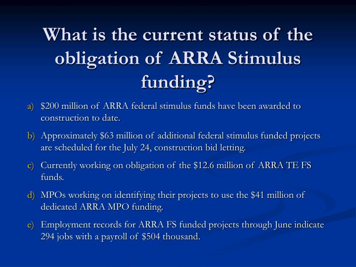 What is the current status of the obligation of ARRA Stimulus funding?