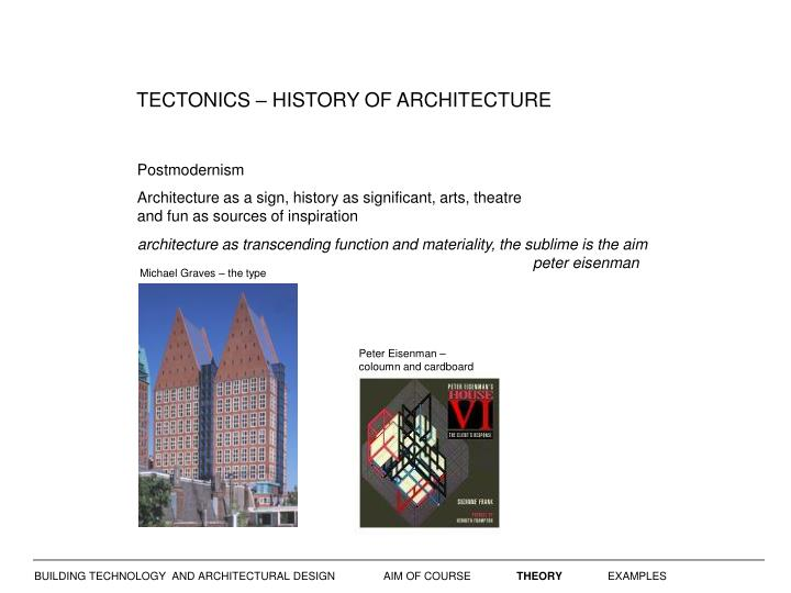 TECTONICS – HISTORY OF ARCHITECTURE