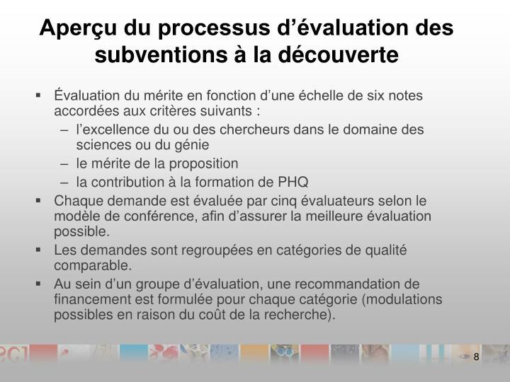 Aperçu du processus d'évaluation des subventions à la découverte