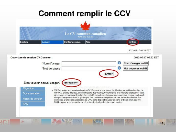 Comment remplir le CCV
