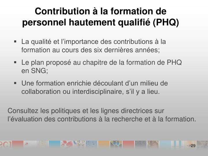 Contribution à la formation de personnel hautement qualifié (PHQ)