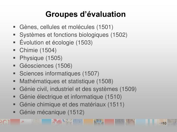 Groupes d'évaluation