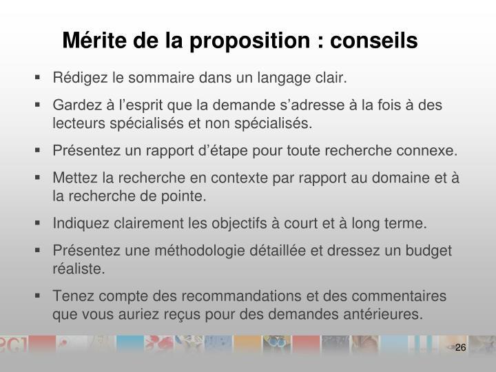 Mérite de la proposition : conseils