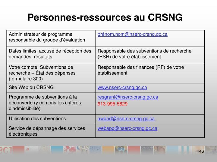 Personnes-ressources au CRSNG