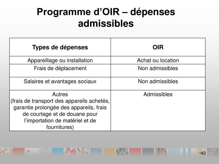 Programme d'OIR– dépenses admissibles