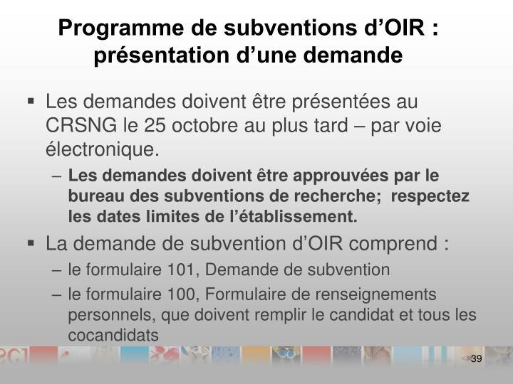 Programme de subventions d'OIR: présentation d'une demande