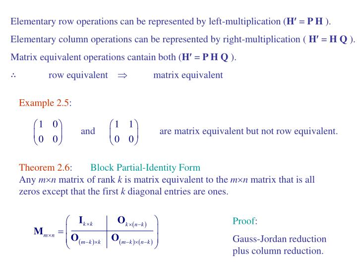 Elementary row operations can be represented by left-multiplication (