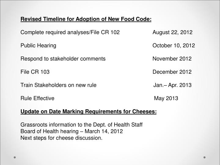 Revised Timeline for Adoption of New Food Code: