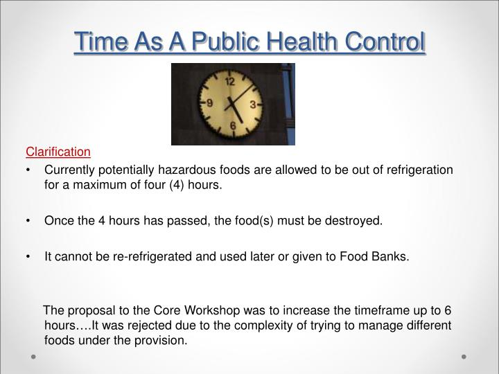 Time As A Public Health Control